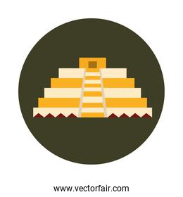 mexican pyramid antique culture folk traditional block and flat icon