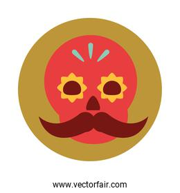 mexican red skull floral and mustache decoration ornament block and flat icon