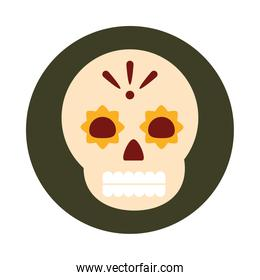 mexican floral skull spooky decoration celebration block and flat icon