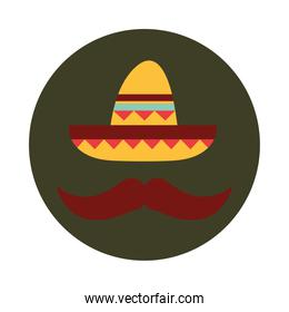mexican sombrero mustache clothes folk culture traditional block and flat icon