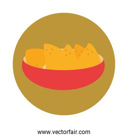 mexican food nachos in bowl traditional block and flat icon