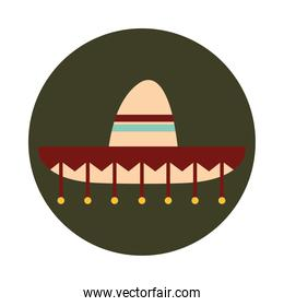 mexican sombrero ornament clothes folk culture traditional block and flat icon