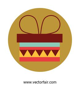 wrapped gift box surprise celebration party block and flat icon