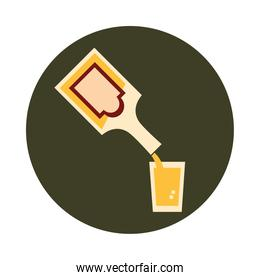 bottle pouring liquor cup celebration party block and flat icon