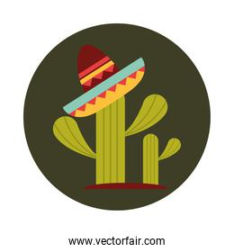 mexican hat on cactus decoration block and flat icon