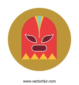 mexican fighter mask traditional block and flat icon
