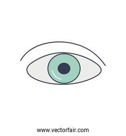 human body concept, eye icon, line fill style