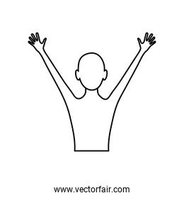 human body concept, avatar person with arms up, line style
