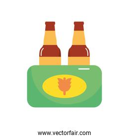 wheat beer bottles icon, flat style
