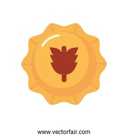 beer cap with oktoberfest hop icon, flat style