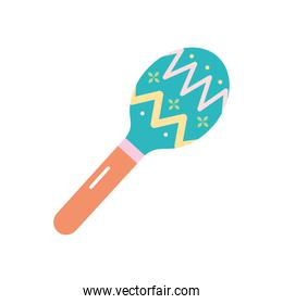 mexican culture concept, maracas icon, flat style