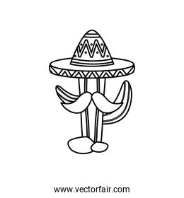 mexican cactus with mustache and hat, line style