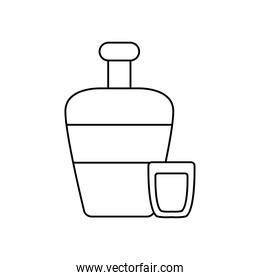mexican culture concept, tequila bottle and shot icon, line style