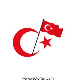 crescent moon and star with turkey flag, flat style