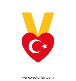 heart medal with turkey flag design, flat style