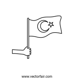 hand holding a turkey flag icon, line style