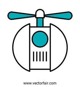 flying robot with propeller, half line half color style