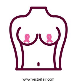 breast cancer concept, female body showing the breast with awareness ribbons on the nipples, half color half line style