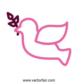 Flying Dove With Olive Twig Icon, half color half line style