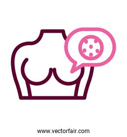 female body showing the breast and speech bubble with breast cancer icon, half color half line style