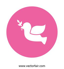 Flying Dove With Olive Twig Icon, block style