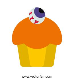 halloween cupcakes with decorative zombie eye icon, flat style