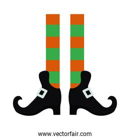 halloween concept, Leprechaun feet with boots icon, flat style