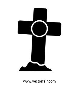 halloween concept, cross grave icon, silhouette style