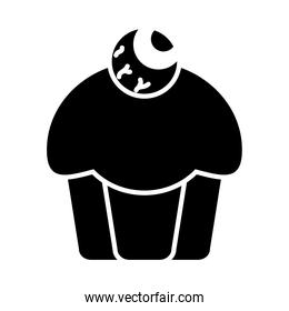 halloween cupcakes with decorative zombie eye icon, silhouette style