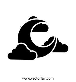 half moon and clouds icon, silhouette style