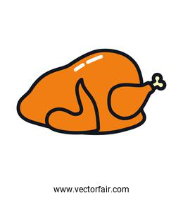 roasted chicken icon, line and fill style