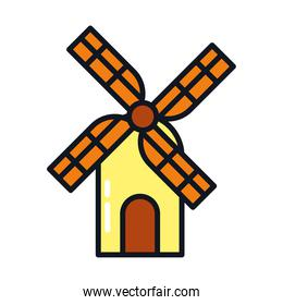 windmill house icon, line and fill style