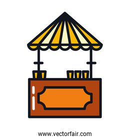 beer vendor booth icon, line and fill style