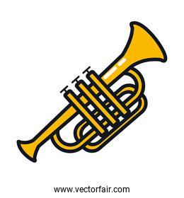 trumpet instrument icon, line and fill style