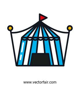 circus tent icon, line and fill style