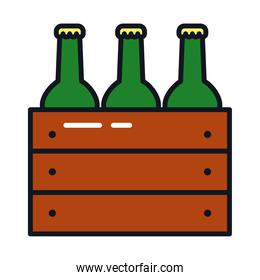 box with beer bottles icon, line and fill style