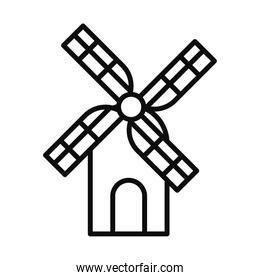 windmill house icon, line style