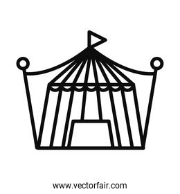 circus tent icon, line style