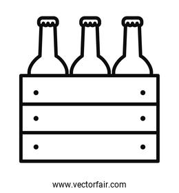 box with beer bottles icon, line style