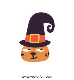 halloween cat cartoon with hat free form style icon vector design