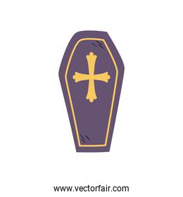 coffin with cross free form style icon vector design