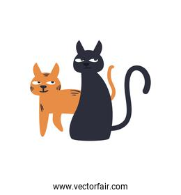 Cute cats cartoons free form style icon vector design