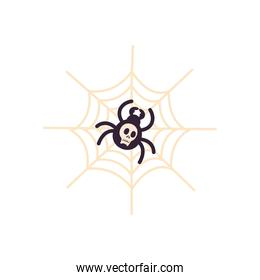 halloween spider with skull cartoon free form style icon vector design
