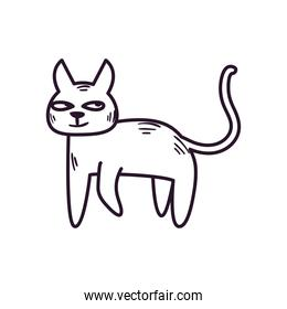 Cute cat cartoon free form line style icon vector design