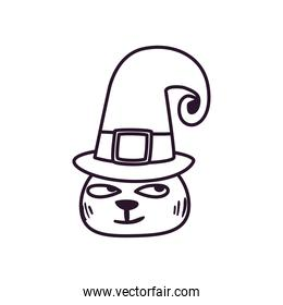 halloween cat cartoon with hat free form line style icon vector design