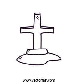 grave with cross free form line style icon vector design