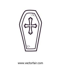 coffin with cross free form line style icon vector design