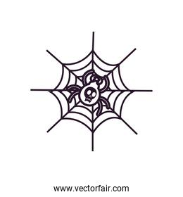 halloween spider with skull cartoon free form line style icon vector design