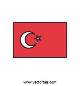 Turkish flag line and fill style icon vector design