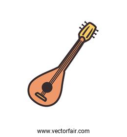 turkish guitar line and fill style icon vector design